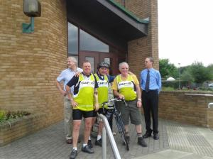 Mark, Fred and John outside of Middlesbrough Cathedral with parishioners, Laurie and Don