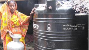 Rupban Biswas now has clean drinking water, thanks to a rainwater storage tank