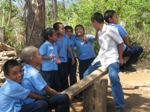 Children from the local school in Puentecitos