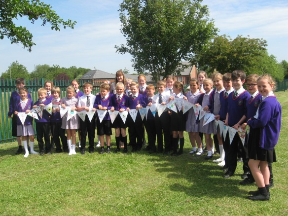 Year 4 with their bunting messages